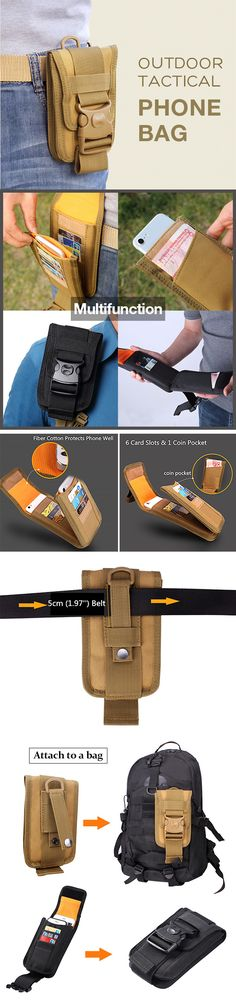 US$11.9#6 Inch Outdoor Tactical Phone Holder Card & Coin Pocket For Men