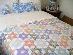 Vintage Star Quilt,never Used,97Wx90L ,all Crisp Cotton 3