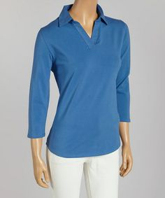 Loving this Delft Blue Pima-Blend Three-Quarter Sleeve Polo - Women & Plus on #zulily! #zulilyfinds