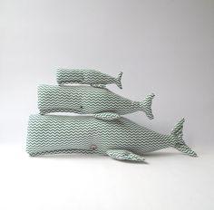 Stuffed  Whales animal toys x3. Plush cute door CherryGardenDolls