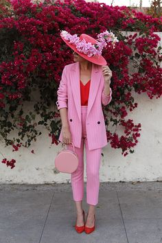 Blair Eadie wearing a pink suit with pops or red // How to wear pink on Atlantic-Pacific Pink Fashion, Fashion Outfits, Womens Fashion, Fashion Trends, Fashion Wear, Fashion Clothes, Latest Fashion, Pink Outfits, Mode Outfits
