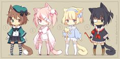 [CLOSED] ADOPTABLES | Nekomimi Girls by ocono