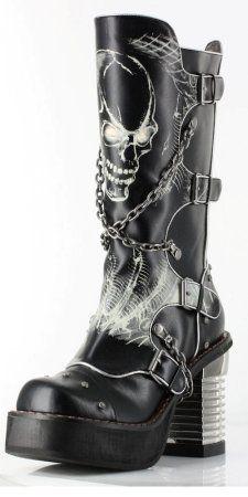 Black knee high steampunk boot