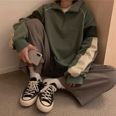 - Outfit - Buy Oversize Alaska Cruise Print Warm Sweatshirt korean style Cheap Trendy Aesthetic Clothes and Gr - Retro Outfits, Mode Outfits, Cute Casual Outfits, Vintage Outfits, Fashion Outfits, Green Outfits, Casual Chic, Casual Clothes, Fashion Vintage