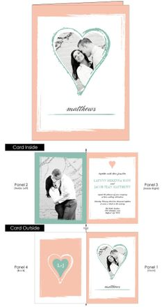 The Photo Heart folded invitations let your love show through with your photo as the background of the heart.