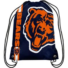 Sling some bold, beautiful Chicago Bears spirit over your shoulders with this Big Logo drawstring backpack! Your Chicago Bears colors and logo can't be missed on this backpack. It is equipped with double-reinforced corners to help you cheer on your Chicag Striped Backpack, Tote Backpack, Drawstring Backpack, Chicago Football, Nfl Chicago Bears, Nylons, Nfl Gear, Leather Handbags, Shopping Bag