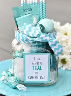 Teal Birthday Gift Idea for Friends-This cute gift is so easy to put together and a birthday gift your friend will love! Fill a basket with teal colored thing and you've got the best birthday gift idea! ideas 2019 Teal Birthday Gift Idea for Friends Cute Birthday Gift, Birthday Gift Baskets, Best Birthday Gifts, Birthday Diy, Card Birthday, Birthday Greetings, Ideas For Birthday Gifts, Creative Birthday Gifts, Best Friend Birthday Gifts