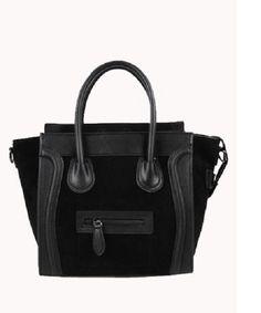 Vanessa Medium Tote In Suede Leather Black