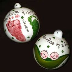 Hands and feet! These would be so cute on Christmas ornaments for newborn babies!