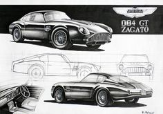 Aston Martin DB4 GT Zagato Markers 70x50cm drawn in 2011  by Rafał Malinowski