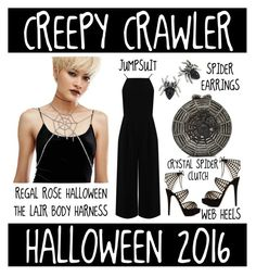 """""""Halloween 2016 - Creepy Crawler Costume"""" by latoyacl ❤ liked on Polyvore featuring REGALROSE, Warehouse, Charlotte Olympia and Marc Jacobs"""