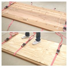 Dining Room Table top with Liquid Nails to attach plywood first, then drill screws in. Add ikea legs/tresltles