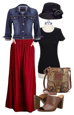 Pocket Maxi Set by apostolicclothing on Polyvore featuring Solid Maxi Skirt with Pockets, Short Sleeve Layering top, and Floral Bucket Hat from www.apostolicclothing.com