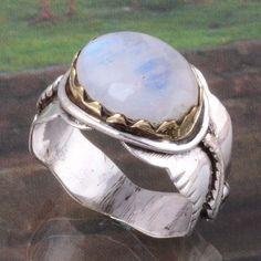 925 STERLING SILVER FANCY RAINBOW MOONSTONE RING 5.87g DJR3107 SIZE-10 #Handmade #Ring