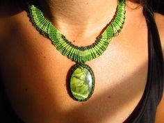 Serpentine Green Macrame Necklace handmade by PapachoCreations, $55.00