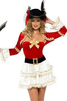 fabe36cefabc Smiffy's Fever Boutique Plentiful Pirate Costume 26038SM Red/White #fashion  #clothing #shoes