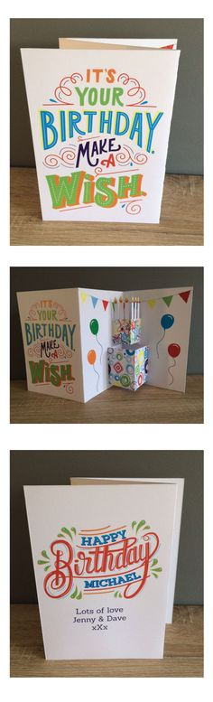 3 way pop up birthday cake card for my brother
