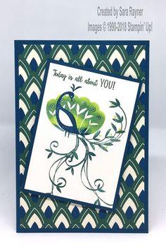 Birthday card using Beautiful Peacock freebie SAB set from Stampin' Up!