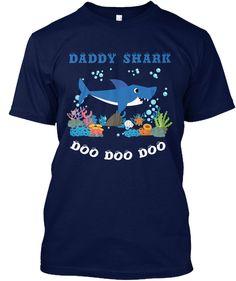 Daddy Shark Doo Doo Doo Navy áo T-Shirt Front