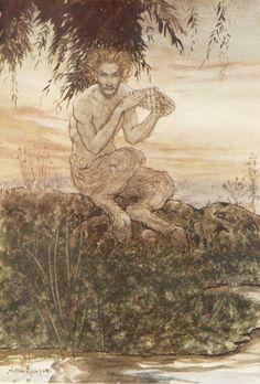 """Arthur Rackham Illustration pour """"The Wind in the Willows"""", de Kenneth Grahame. Arthur Rackham, Symbole Viking, Kenneth Grahame, Fairytale Art, Green Man, Children's Book Illustration, Mythology, Illustrators, Demons"""