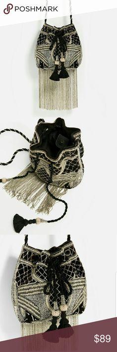 ZARA BEADED FRINGE BUCKET BAG BRAND NEW ZARA BEADED FRINGE BUCKET BAG BRAND NEW Zara Bags