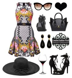 Juicy Couture Eloise Printed Dress - contest by countryducky on Polyvore featuring polyvore, fashion, style, Juicy Couture, Schutz, Fits, Italia Independent, PyroPet, Riedel, clothing, black, juicycouture, strappysandal and catbag