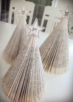 Christmas trees made from old books Old Books, Christmas Trees, Diy Crafts, Inspiration, Home, Antique Books, Xmas Trees, Biblical Inspiration, Make Your Own