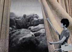 """Martha Rosler, """"Cleaning the Drapes,"""" from the series House Beautiful: Bringing the War Home (c. photomontage (artwork © Martha Rosler, image courtesy the artist and Mitchell-Innes & Nash, New York) Seattle Art Museum, Art Institute Of Chicago, Pop Art, Land Art, Photomontage, Jewish Museum, National Gallery Of Art, Feminist Art, Expositions"""