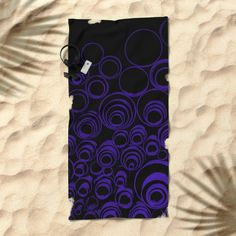 UV, dark blue scrolls on black pattern, circles, round, #geometric #pattern #beach #towel