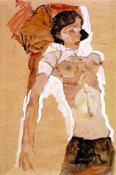 """Egon Schiele   """"Jeune Femme demi nue allongée """"  1911   © Albertina - Vienne"""