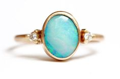 Boulder+Opal+Ring+in+14k+Gold++Diamond+and+Opal+Ring++Oval