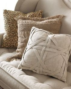 I think I might be able to make something like this pillow. Woven