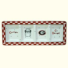 UGA Relish Tray (4 Sections). University of Georgia ceramic 4 section relish tray with Georgia G logo, Hairy Dawg, Georgia, and Go Dawgs. Dishwasher Safe Top Row Only, Microwave Safe. Makes a great accessory at any tailgate or party!