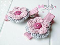 Flower Hair Clips - Crochet Flower Hair Clips Set of 2