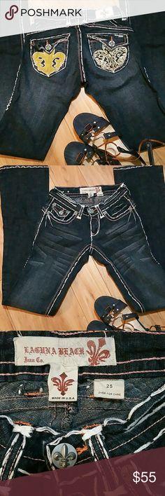 Laguna Beach jeans size 25 Laguna Beach Jeans Women's, White Stitch Boot Cut Denim Jeans. Laguna Beach Jeans Boot Cut