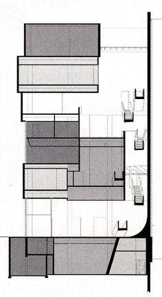 Zaha Hadid's cross-section for the Contemporary Arts Center in Cincinnati 2001 Cincinnati Museum, Cincinnati Art, Concept Board Architecture, Peter Eisenman, Zaha Hadid Architects, Modern Materials, Urban Landscape, Art Museum, Facade