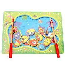 Tabuleiro de Jogo de Pesca Magnética de madeira Brinquedos De Madeira Puzzles Brinquedos Educacionais Do Bebê do Menino Das Crianças Dos Miúdos(China (Mainland))