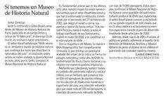 Carta del director del MNHN, Claudio Gómez, al diario El Mercurio, en respuesta a Gilles Bouef, presidente del Museo Nacional de Historia Natural de París.