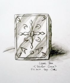 "My paintings——<Saint Seiya>Hand painted.My own design Saint---Crux Silver Saint Le. 2014.9.17晚完成了梨的圣衣箱([自己人设].水性笔+水彩笔)。她是我最早构思的女圣斗士,被称为""光暗之星""。越南人,孤儿。比冰河大几个月,左眼眉骨处有条战时留下的长条伤疤痕被长刘海遮住。幼时经历过越战的残酷,养成沉默有点冷血少言,只爱独抽烟的性格。修行时练过泰拳,是瘦壮有力的女汉子。与冰河接触后渐变人生观而爱上冰河。绝招:南十字电光拳;黑暗吞噬;星光屏障。 (Crux Cloth Box)"