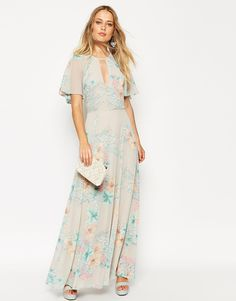 a52fcdcd3d7a spring floral flutter wing sleeves maxi dress wedding guest spring outfit  idea White Dress With Sleeves