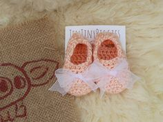 Baby Slippers Shoes Booties Peach Soft Crochet by TenTinyPiggies
