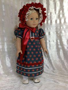 RESERVED Red and blue regency dress and bonnet for Caroline.. $99.00, via Etsy.