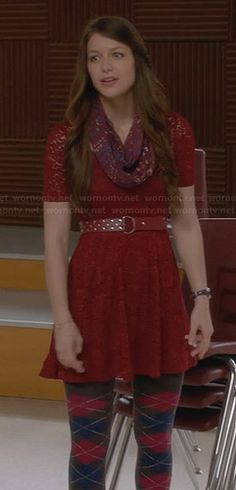 WornOnTV: Marley's burgundy lace dress and argyle tights on Glee | Melissa Benoist | Clothes and Wardrobe from TV