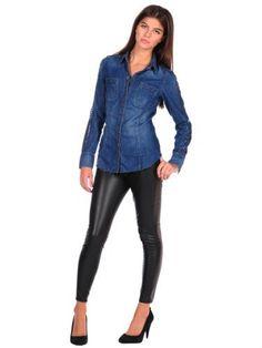 Blank NYC Womens Denim Studded Shirt [BLANKNYC]. $78.00