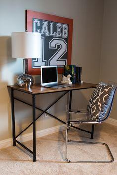 teen boy's small bedroom {an update | industrial desk, industrial