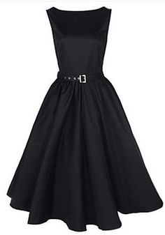 Black Plain Belt Pleated Swing Boat Neck Audrey Hepburn Style Party Vintage Dress