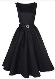 Black Plain Belt Pleated Boat Neck Vintage Dress