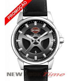 Relógio Harley Davidson com pulseira de couro WH30215T Relojoaria New Look Time R$ 729,99