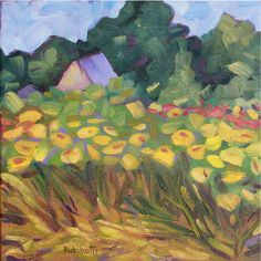 A personal favorite from my Etsy shop https://www.etsy.com/listing/463408797/sunflower-fields-original-oil-painting