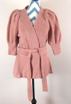 4f1b08e93bd Wool Sweater - Mauve Colored Moda International - Size XL with Puffy  Sleeves - Vintage 1980s